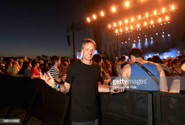Skateboarder Tony Hawk attends day 1 of the 2013 Coachella Valley Music Arts Festival at the Empire Polo Club on April 12 2013 in Indio California