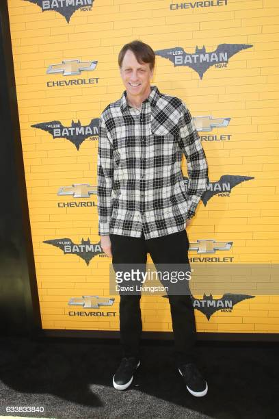 Skateboarder Tony Hawk attends the Premiere of Warner Bros Pictures' The LEGO Batman Movie at the Regency Village Theatre on February 4 2017 in...