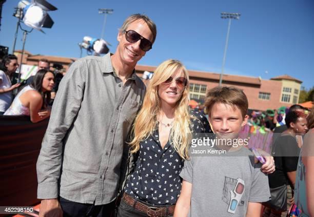 Skateboarder Tony Hawk Cathy Goodman and Keegan Hawk attend Nickelodeon Kids' Choice Sports Awards 2014 at UCLA's Pauley Pavilion on July 17 2014 in...