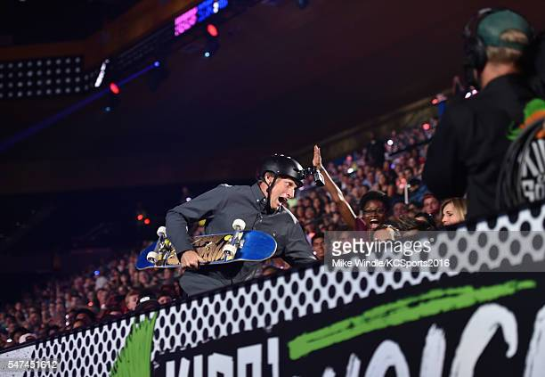 Skateboarder Tony Hawk performs during the Nickelodeon Kids' Choice Sports Awards 2016 at UCLA's Pauley Pavilion on July 14, 2016 in Westwood,...
