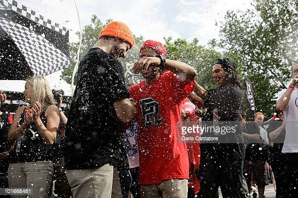 Skateboarders Chris Cole and Paul Rodriguez celebrate 1st and second place prizes at the Maloof Money Cup at Flushing Meadows Corona Park on June 6...