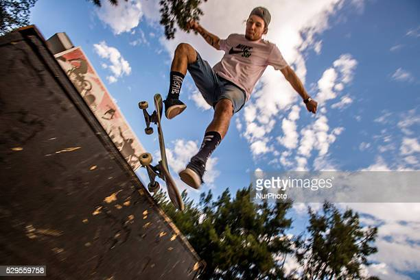Skateboarders performing their tricks in a Skate Park in Windhoek Namibia on May 7 2016