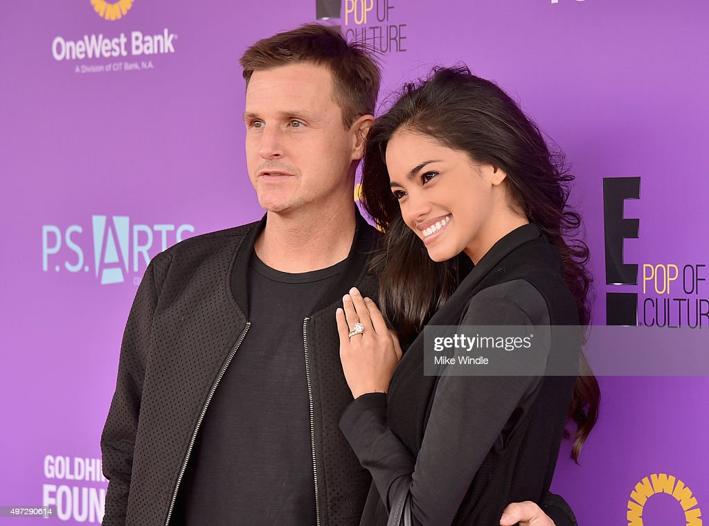 Skateboarders Rob Dyrdek (L) and Bryiana Noelle Flores attend Express Yourself 2015 to benefit P.S. ARTS, providing arts education to 25,000 public school students each week at Barker Hangar on November 15, 2015 in Santa Monica, California.