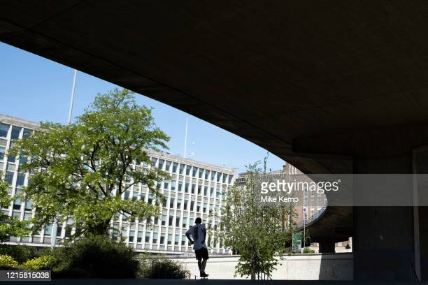 Skateboarders underneath the A38 Aston Epressway enjoy the peace in this place of incredible scale under what is normally one of the busiest roads,...