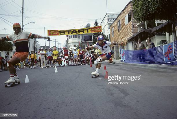 Catalina Classic View of Henry Hester and Bobby Piercy in action during race in the streets of Avalon on Santa Catalina Island Avalon CA 10/1/1977...