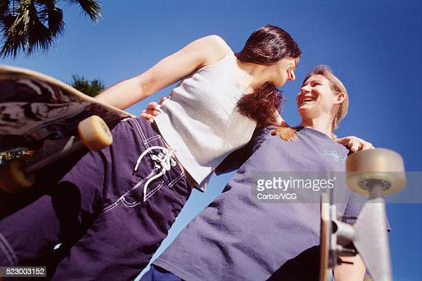 skateboarding friends - vintage lesbian photos stock pictures, royalty-free photos & images