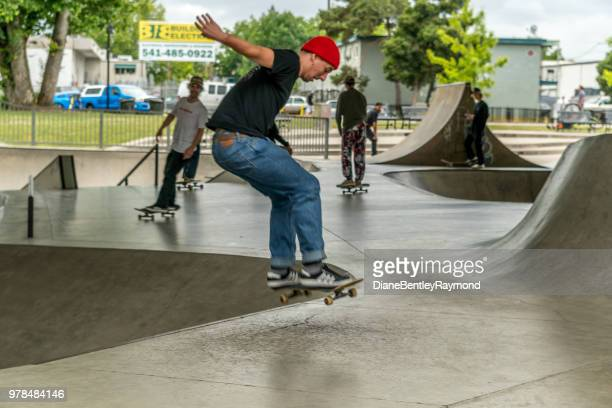 skateboarding in an urban skatepark - eugene oregon stock pictures, royalty-free photos & images