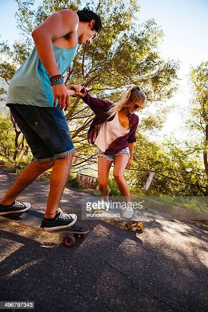 Skateboarding together