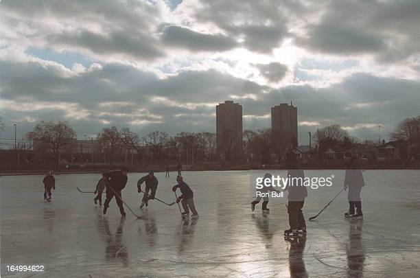 Skate/Grenadier Pond 01/02/02 Skaters on Grenadier Pond in High Park general skaters and hockey game players in afternoon 1 two boys on ice leaving...