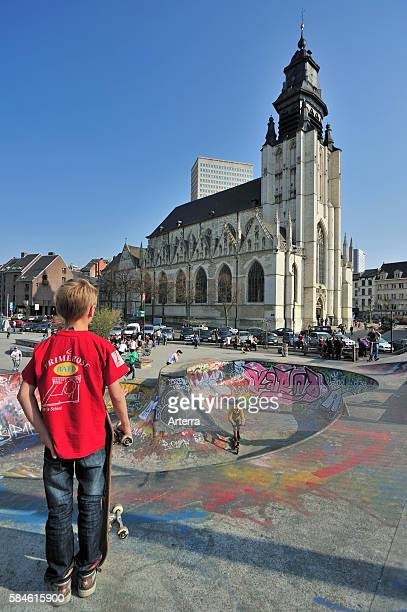 Skatepark and the Kapellekerk / Eglise de la Chapelle Roman Catholic church situated in the Marolles/Marollen district of Brussels Belgium