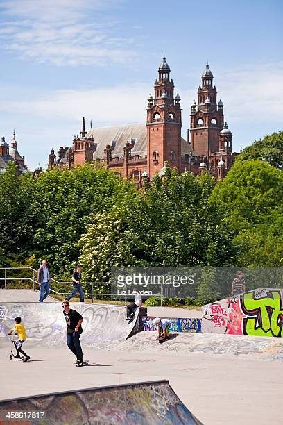 skatepark in kelvingrove park, glasgow; museum/art gallery behind. - kelvingrove art gallery and museum stock pictures, royalty-free photos & images