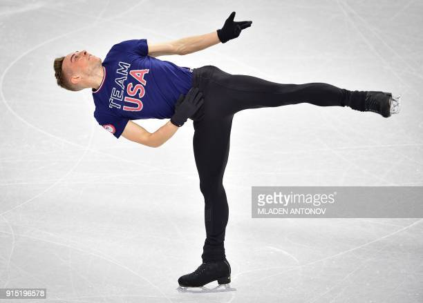 US skater Adam Rippon practices at Gangneung Ice Arena ahead of the team event of the men's figure skating before the Pyeongchang 2018 Winter Olympic...