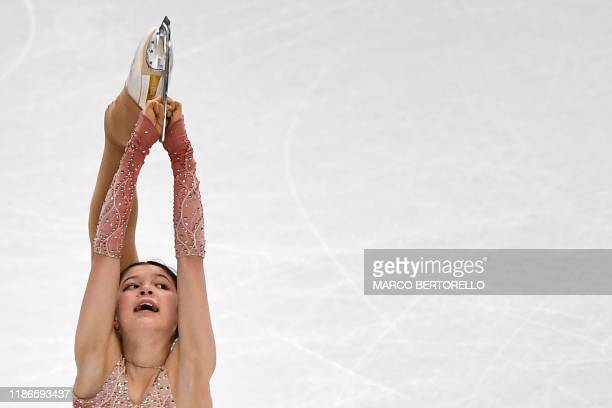 US skater Alysa Liu competes during the Junior Ladies short program at the ISU Grand Prix of figure skating Final 2019 on december 5 2019 in Turin