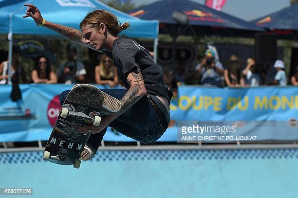 US skater Chris Gregson takes part in qualifying rounds of the French stage of the World Cup Skateboarding ISU during the Sosh Freestyle Cup June 19...