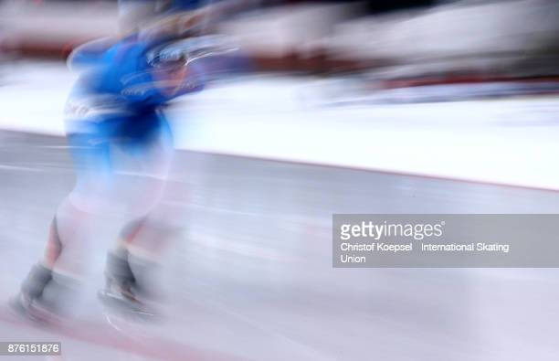 A skater competes during Day 2 of the ISU World Cup Speed Skating at Soermarka Arena on November 18 2017 in Stavanger Norway