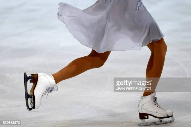 A skater competes during the Free Dance of the Internationaux de France ISU Grand Prix of Figure Skating in Grenoble centraleastern France on...