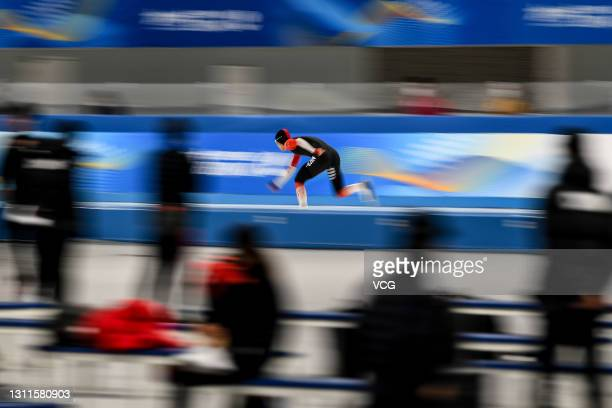 Skater competes in the speed skating test event during the 10-day test program for the Olympic and Paralympic Winter Games Beijing 2022 at National...