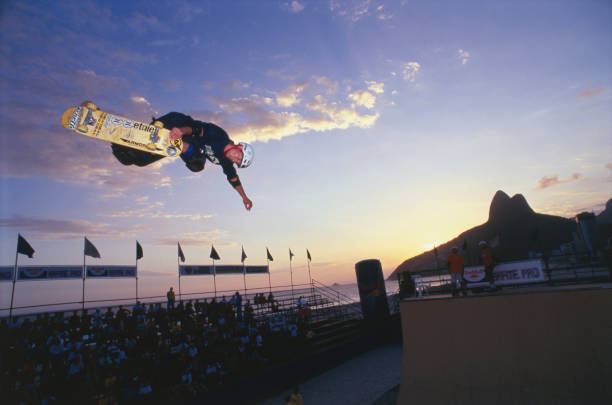 Skater competing in contest at Ipanema Beach.
