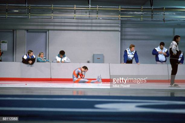 Skater Dan Jansen sits on the ice with his hands in his head after he falls for the second time in the mens 1000 meter event in February 14 1988 in...