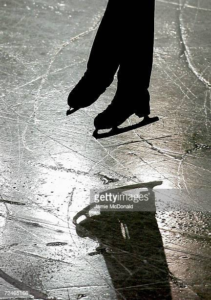 A skater jumps during the Mens Free Skate during the ISU European Figure Skating Championships at the Palavela on January 27 2005 in Torino Italy