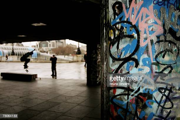 A skater practices among the graffiti covered walls of the Hayward gallery on January 22 2007 in London England The government has announced plans...