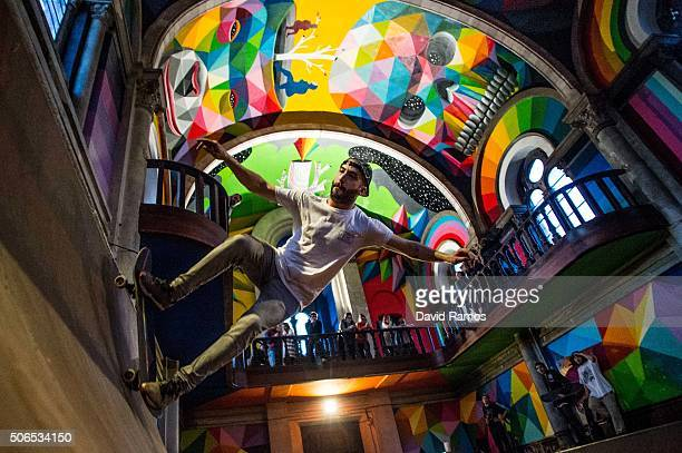 A skater practices skateboarding in a skate park inside the Santa Barbara church on January 23 2016 in Oviedo Spain A collective of skaters named The...