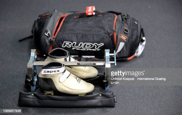 Skater shoe during the ISU Short Track World Cup Day 1 at Halyk Arena on December 8 2018 in Almaty Kazakhstan Photo by Christof Koepsel International...