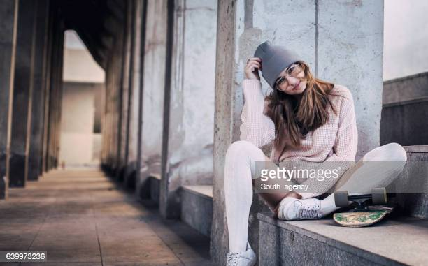 Skater woman relaxing