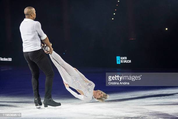 Skaters Annette Dytrt and Jannick Bonheur performs in Revolution on Ice at Coliseum A Coruña on December 21 2019 in A Coruna Spain