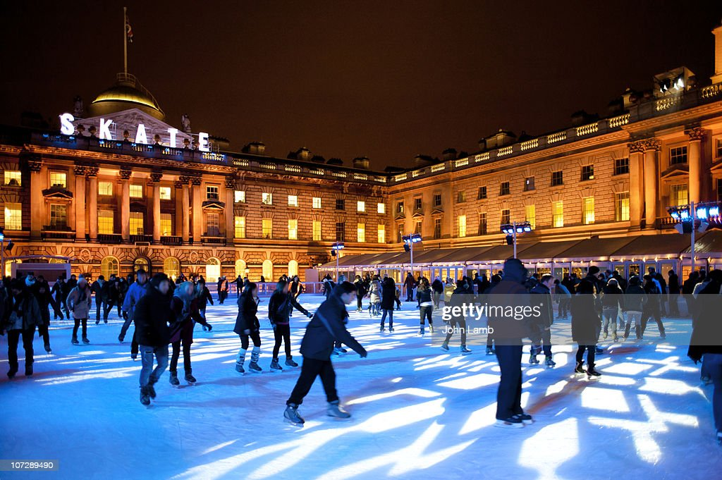 Skaters at Somerset House : Stock Photo