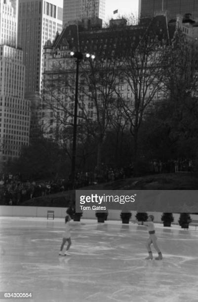Skaters Christopher Dean and Jayne Torvill of the ice skating duo Torvill and Dean perform at the opening ceremony for Wollman Rink in Central Park...