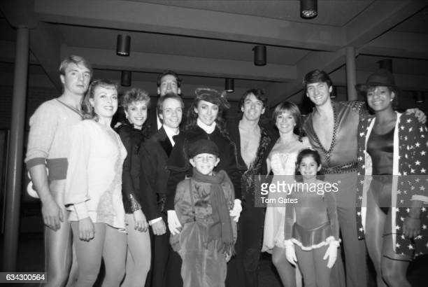 Skaters Christopher Dean and Jayne Torvill of the ice skating duo Torvill and Dean Scott Hamilton Peggy Fleming and Dorothy Hamill attend the opening...