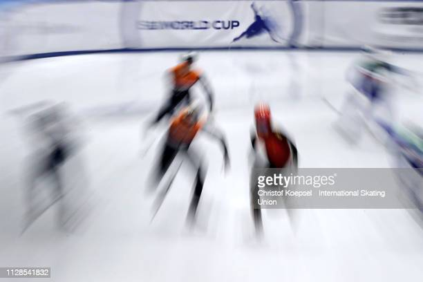 Skaters compete during the ISU Short Track World Cup Day 1 at Tazzoli Ice Rink on February 09 2019 in Turin Italy Photo by Christof Koepsel...