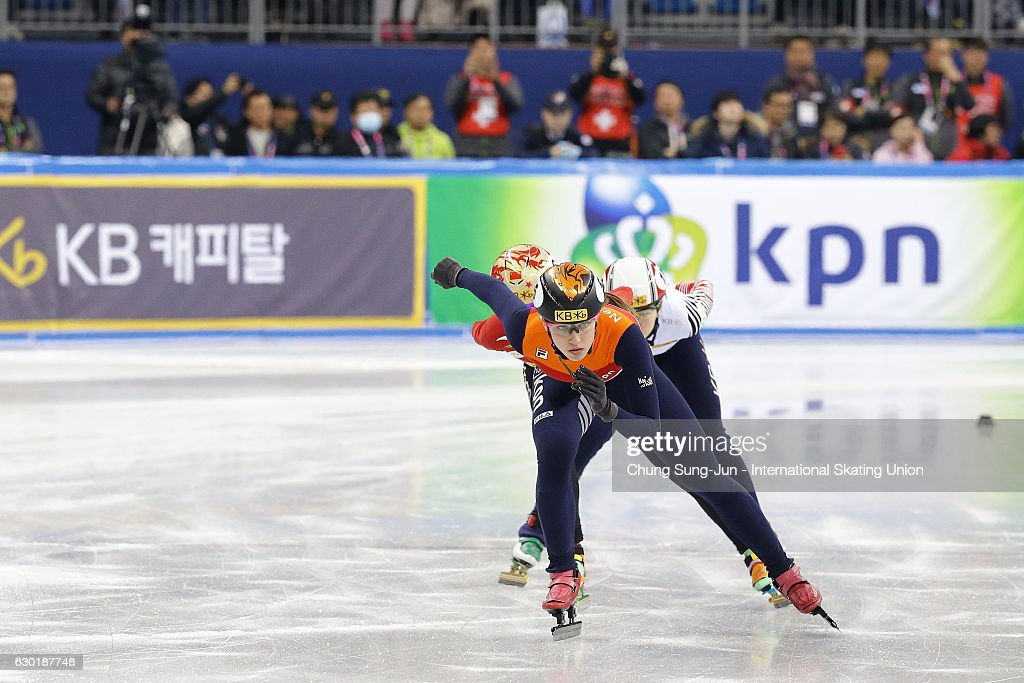 Skaters compete during the ISU World Cup Short Track 2016 on December 18, 2016 in Gangneung, South Korea.