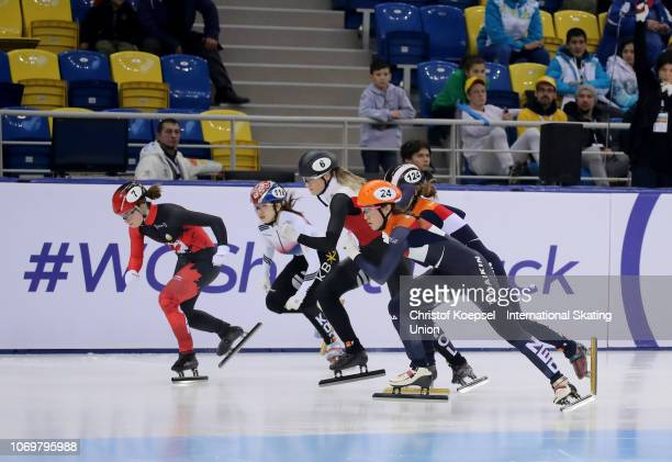 Skaters compete during the ladies 1000 meter final A race during the ISU Short Track World Cup Day 1 at Halyk Arena on December 8 2018 in Almaty...