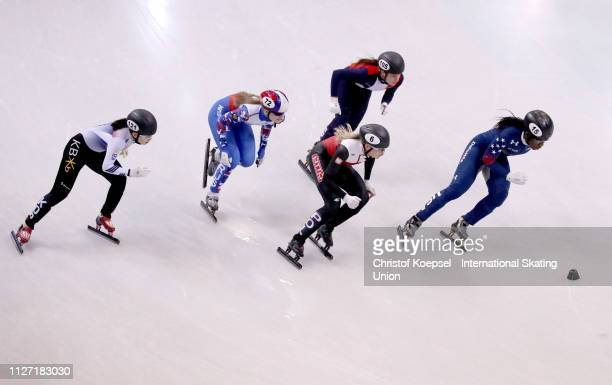 Skaters compete during the ladies 500 meter quarter final heat three during the ISU Short Track World Cup Day 2 at EnergieVerbund Arena on February...