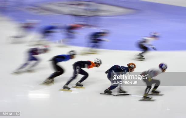 Skaters compete during the men's 5000m relay final event at the ISU World Cup Short Track Speed Skating in Seoul on November 19 2017 YeonJe