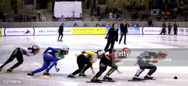 Skaters compete during the second ladies 500 meter semi final heat one during the ISU Short Track World Cup Day 2 at EnergieVerbund Arena on February...