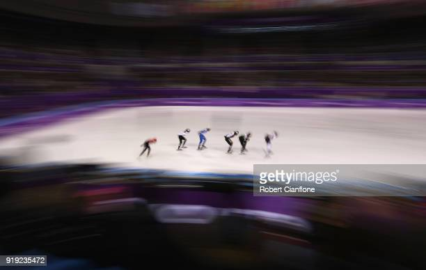 Skaters compete in Heat 3 during the Short Track Speed Skating Ladies' 1500m heats on day eight of the PyeongChang 2018 Winter Olympic Games at...