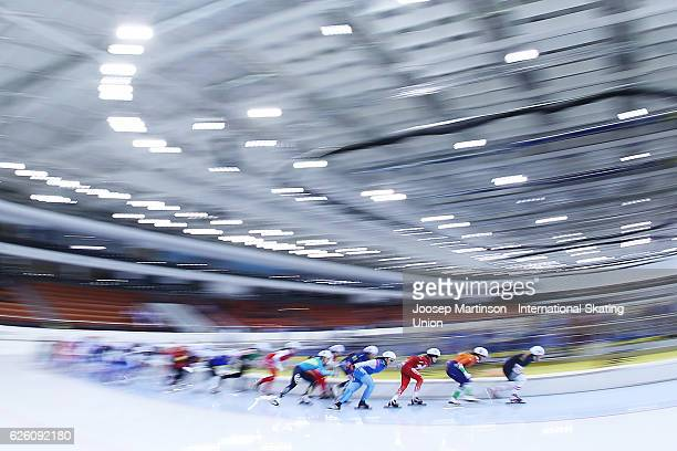 Skaters compete in Ladies Mass Start during day two of ISU Junior World Cup Speed Skating at Minsk Arena on November 27 2016 in Minsk Belarus