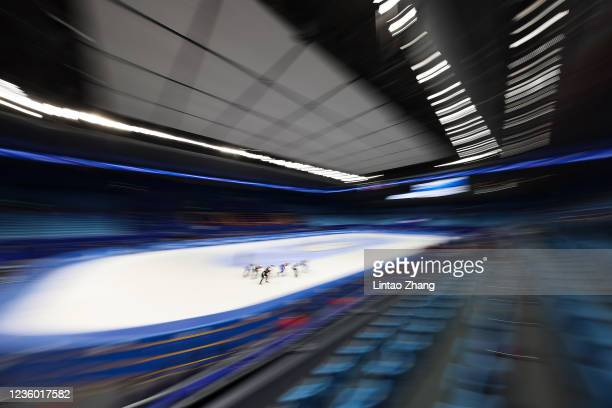 Skaters compete in the Ladies 1500m quarterfinals during the 2021/2022 ISU World Cup Short Track test event for the Beijing 2022 Winter Olympics at...