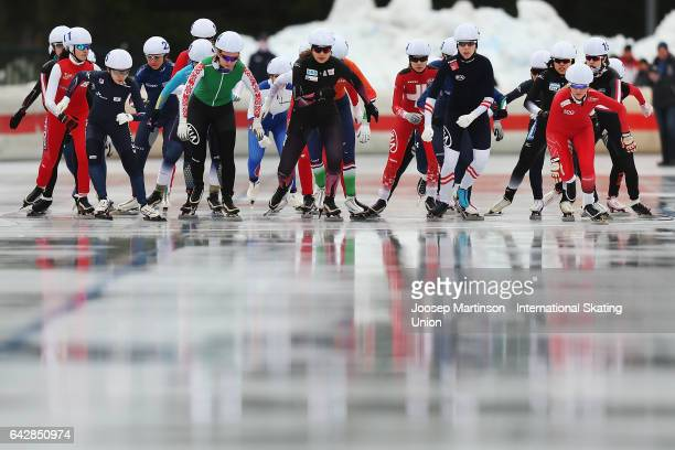 Skaters compete in the ladies mass start during day three of the World Junior Speed Skating Championships at Oulunkyla Sports Park on February 19...