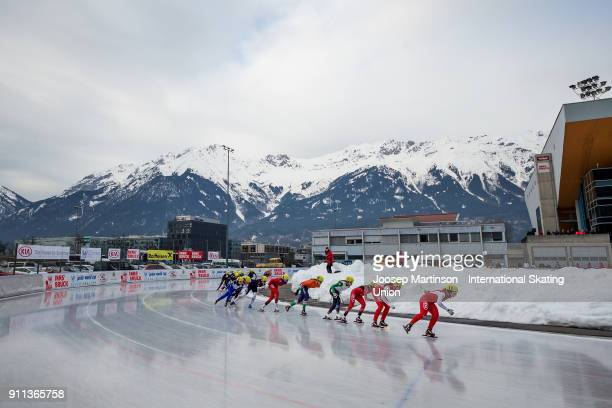 Skaters compete in the Ladies Mass Start during day two of the ISU Junior World Cup Speed Skating at Olympiaworld Ice Rink on January 28 2018 in...