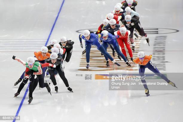 Skaters compete in the Ladies Mass Start during the ISU World Single Distances Speed Skating Championships Gangneung Test Event For Pyeongchang 2018...