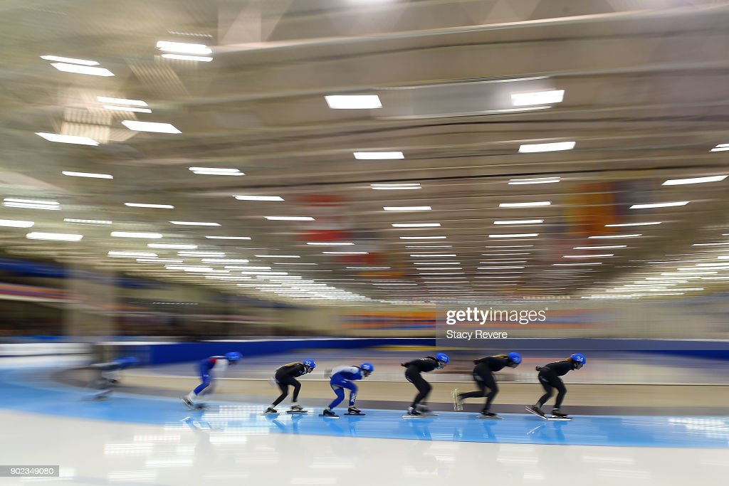 Skaters compete in the Ladies Mass Start event during the Long Track Speed Skating Olympic Trials at the Pettit National Ice Center on January 7, 2018 in Milwaukee, Wisconsin.