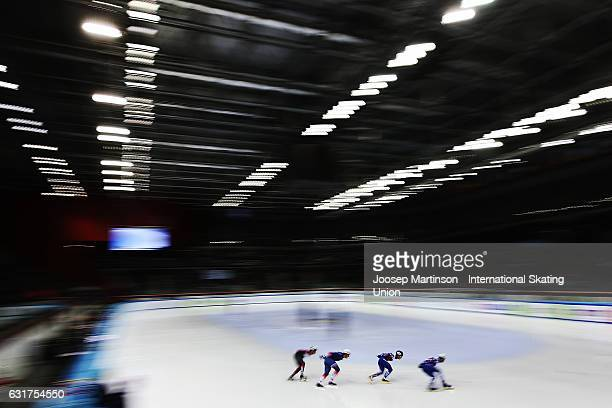Skaters compete in the Men's 1000m Bfinal during day 2 of the European Short Track Speed Skating Championships at Palavela Arena on January 15 2017...