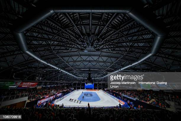 Skaters compete in the Men's 1500m quarter final during the ISU European Short Track Speed Skating Championships at Sportboulevard on January 11 2019...