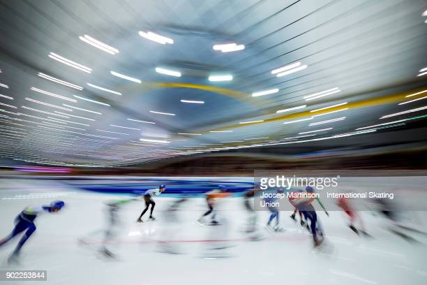 Skaters compete in the Men's Mass Start during day three of the European Speed Skating Championships at the Moscow Region Speed Skating Centre...