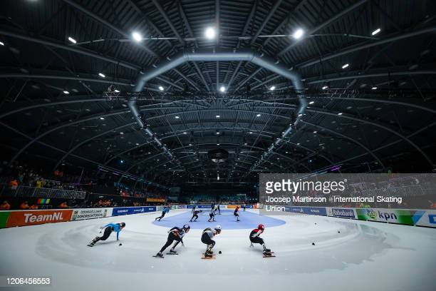 Skaters compete in the Mixed Gender Relay during day 1 of the ISU World Cup Short Track at Sportboulevard on February 15, 2020 in Dordrecht,...