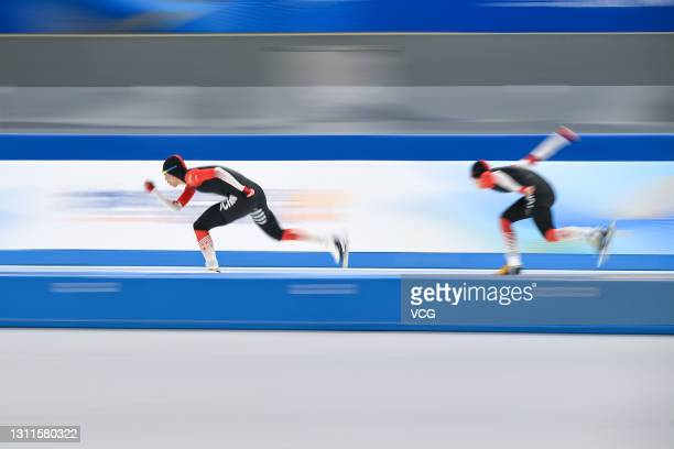 Skaters compete in the speed skating test event during the 10-day test program for the Olympic and Paralympic Winter Games Beijing 2022 at National...